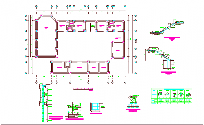 Foundation plan with construction detail of community center dwg file
