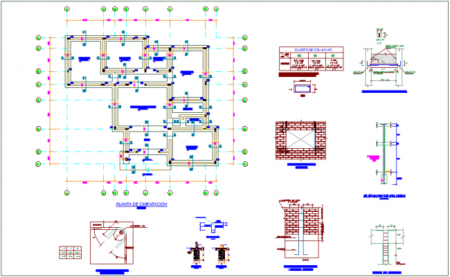 Foundation plan with construction detail of office dwg file