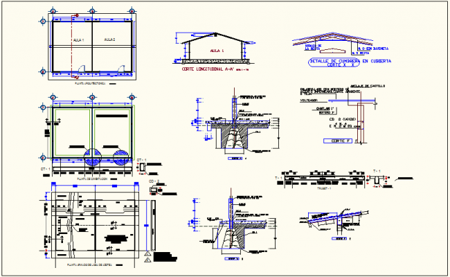 Foundation plan with construction detail of school classroom dwg file