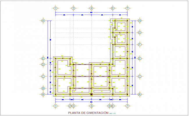 Foundation plan with construction view for municipal agency dwg file