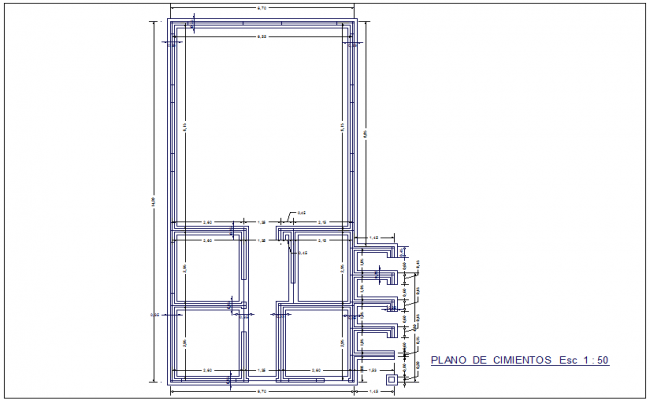 Foundation plan with construction view for weaving and packaging workshop dwg file