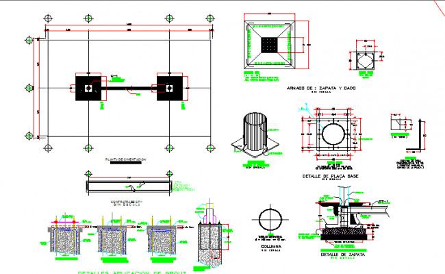 Foundation plan with constructive details of gas station dwg file