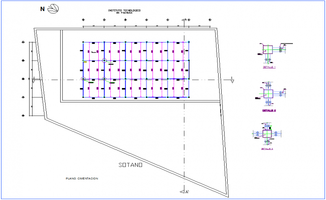 Foundation plan with detail of basement for office dwg file