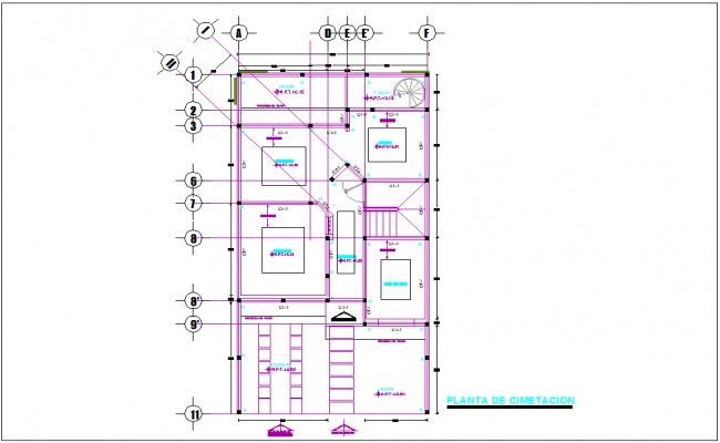Foundation plan with detail view  of  construction view for house dwg file