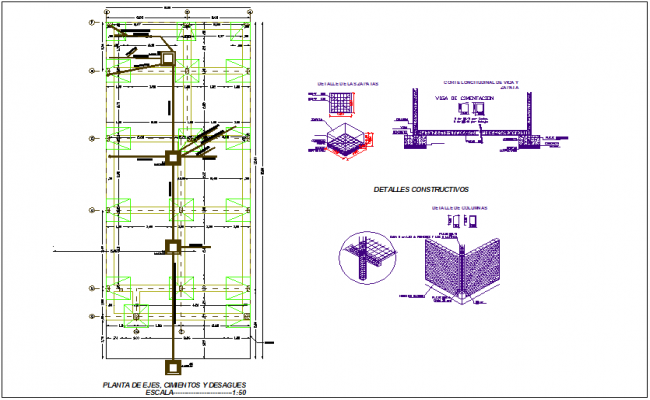 Foundation plan with drain plant and construction detail view for Columbia housing  dwg file