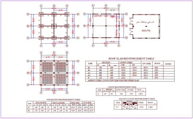 Foundation plan with roof slab reinforcement dwg file