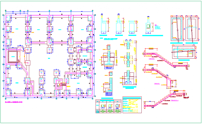Foundation plan with stair and sectional view of column for Los angles collage dwg file