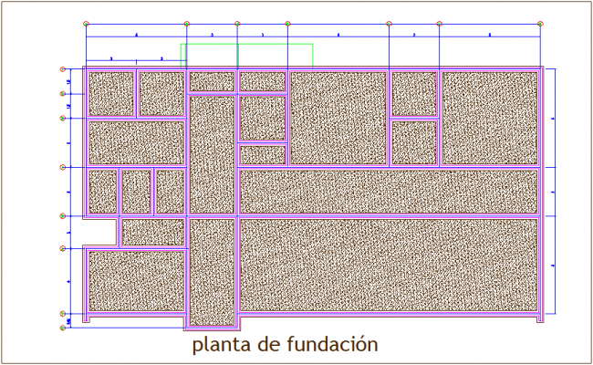 Foundation plan with wall view dwg file