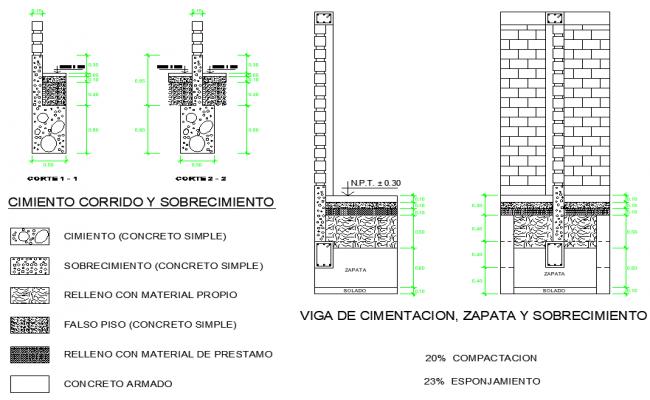 Foundation section plan detail autocad file