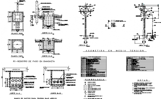 Foundation section plan detail dwg file
