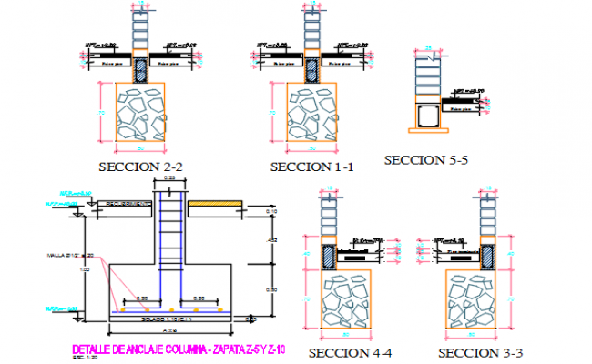 Foundation section working plan detail dwg file