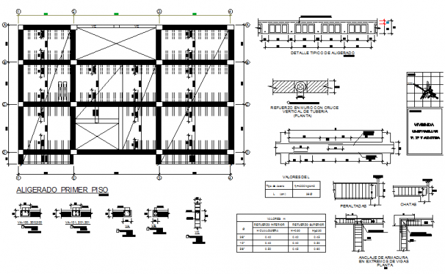 Foundation structure Beam and column detail dwg file