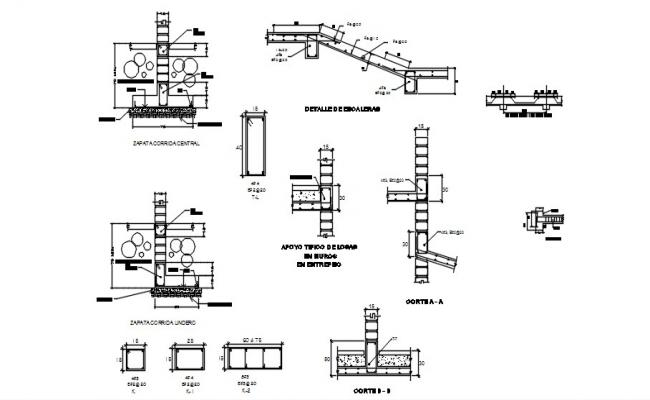 Foundation structure drawing in dwg file