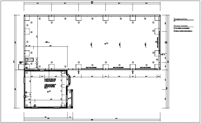 Foundation view of floor plan with construction detail dwg file