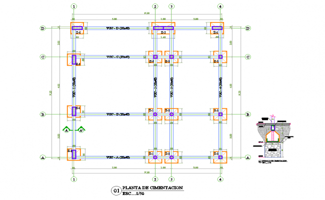 Foundations column detail cad files