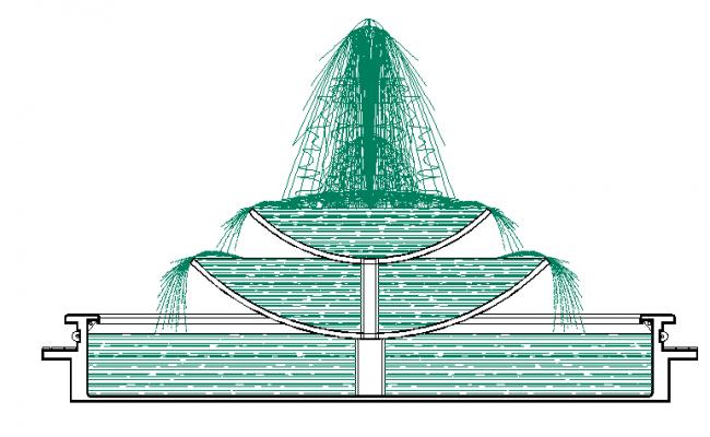 Fountain design of public community park dwg file