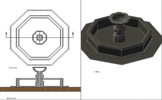 Fountain plan dwg and elevation detail dwg file for Fountain autocad block