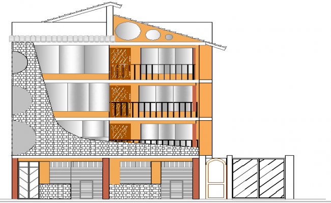 Four Floor House Architecture Design and Elevation dwg file