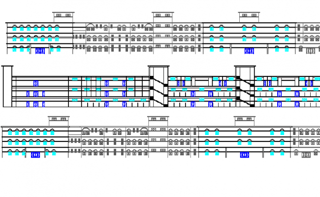 Four Flooring Multi-Specialty Hospital Elevation Details dwg file
