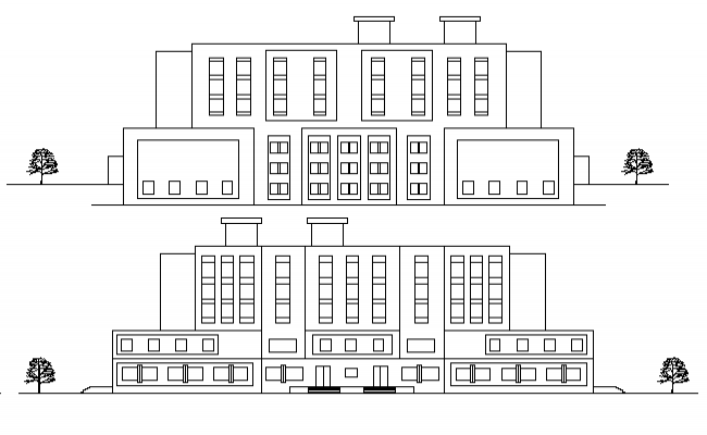 Four Flooring Multi-Specialty Hospital Elevation Details dwg file