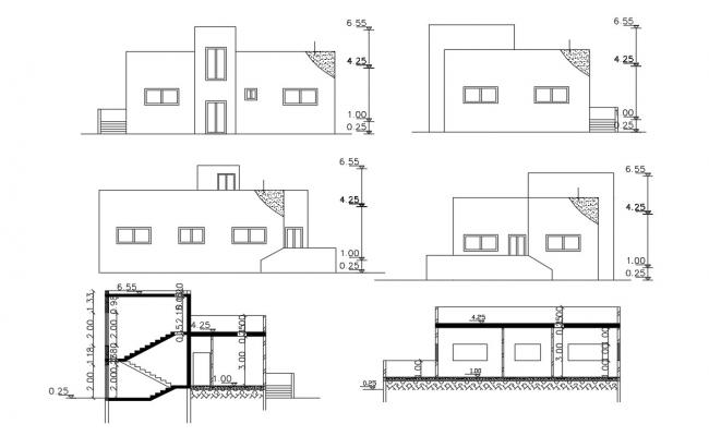 Four Side Elevations And Two Sections AutoCAD File