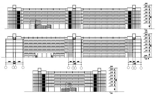 Four Story Commercial Complex Elevation AutoCAD File