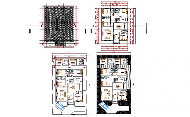 Four bed room design plan autocad file