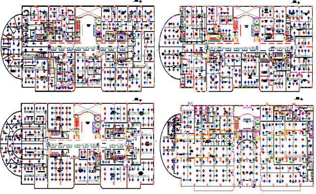 Four flooring building lift elevator architecture project dwg file