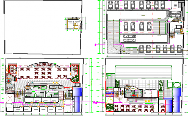 Four floors layout plan details of shopping mall dwg file