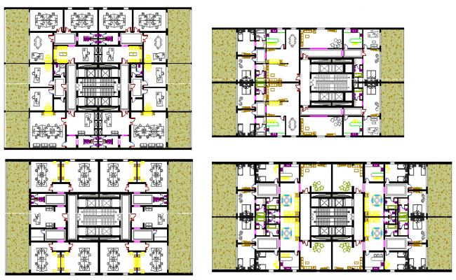 Four floors layout plan details of tour-ecologic center dwg file