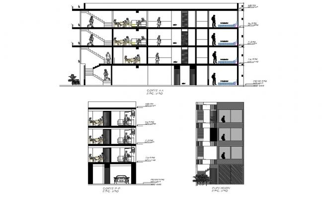 Four story house building main elevation and sectional details dwg file