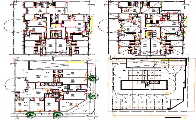 Four story residential and commercial building floor plan details dwg file