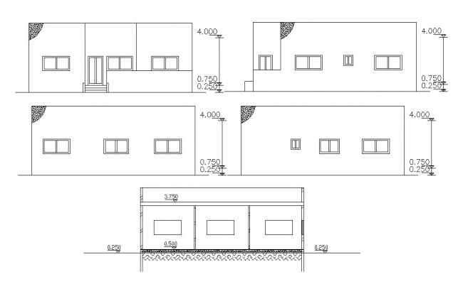 Four Side Elevations And Section Of House Design DWG