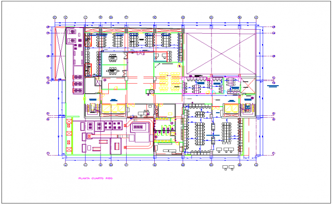 Fourth floor plan of Washington office dwg file