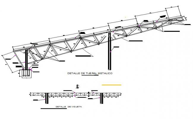 Frame truss structural plan and section detail dwg file