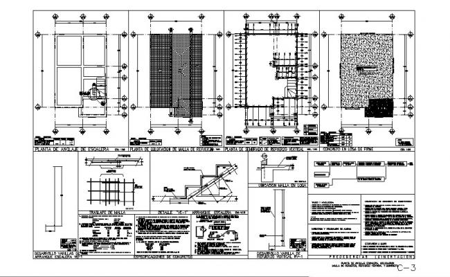 Framing plan, cover plan, staircase and constructive structure details of house dwg file