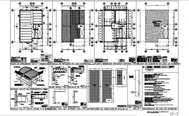 Framing plan, cover plan and construction details of housing floors dwg file
