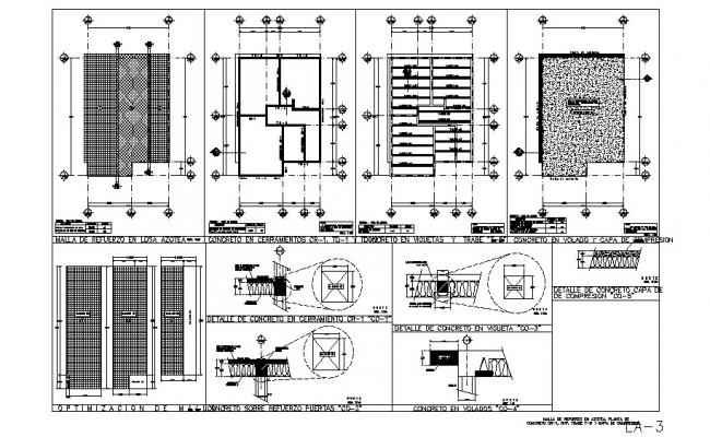 Framing plan, cover plan and constructive structure details dwg file