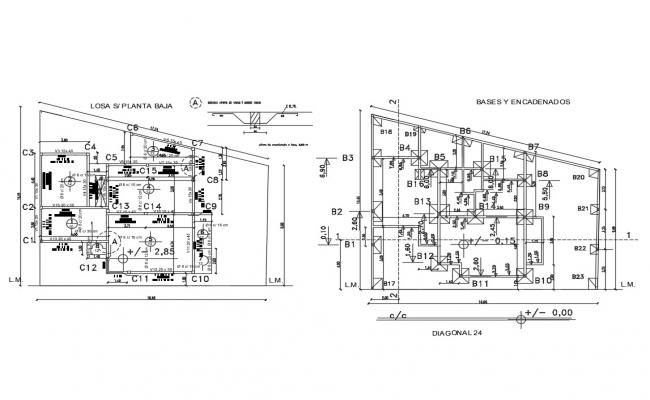 Framing plan and foundation plan details of first floor of house dwg ...