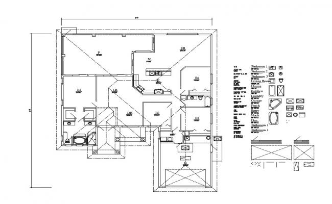 Framing plan and plan details of one family house dwg file