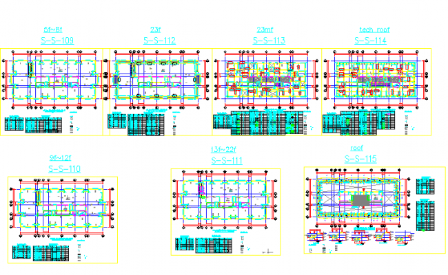 Framing plan tower B details