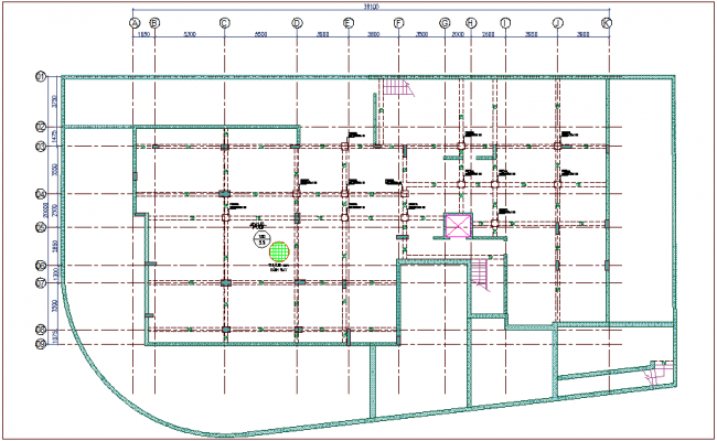 Framing plan with construction view dwg file