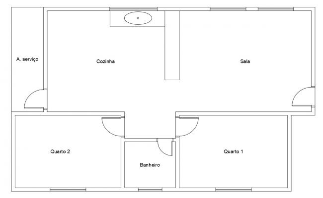Free 2 BHK House Layout Plan