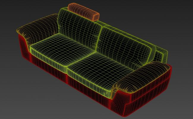 Free 3D File Two Seater Sofa With Heavy Handrest Rendered Drawing  3D MAX