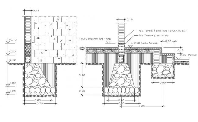 Free Download Brick wall construction CAD file