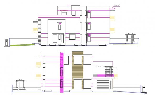 Free Download Bungalow Elevation AutoCAD Drawing