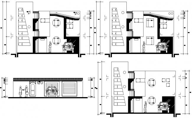 Free Download Bungalow Elevation Design AutoCAD Drawing
