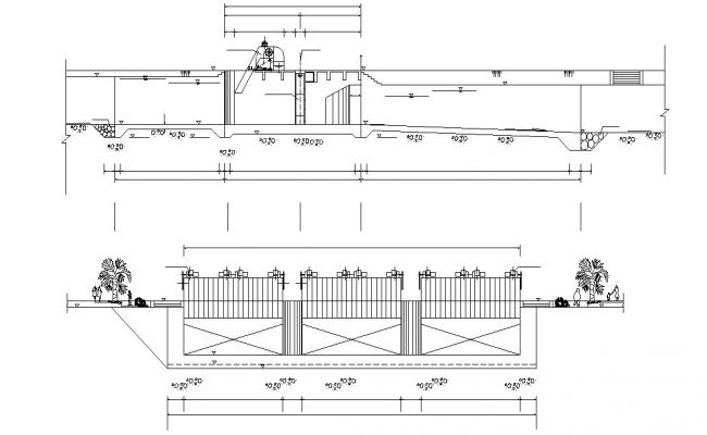 Free Download Compound wall CAD Drawing
