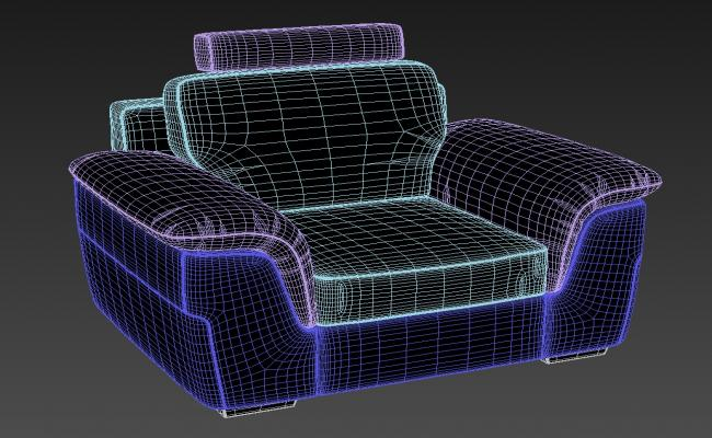 Free Download One Seater Sofa With Old Style 3D MAX File