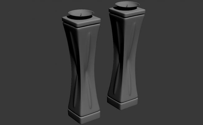 Free Download Pillar Candle Stand 3D MAX File